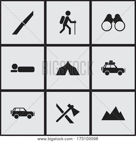 Set Of 9 Editable Trip Icons. Includes Symbols Such As Bedroll, Gait, Field Glasses And More. Can Be Used For Web, Mobile, UI And Infographic Design.