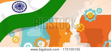 India concept of thinking growing innovation discuss country future brain storming under different view represented with heads gears and flag vector