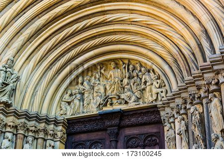 Stone carvings at the Fuersten Gate at Bamberg Cathedral