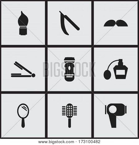 Set Of 9 Editable Tonsorial Artist Icons. Includes Symbols Such As Whiskers, Charger, Reflector And More. Can Be Used For Web, Mobile, UI And Infographic Design.