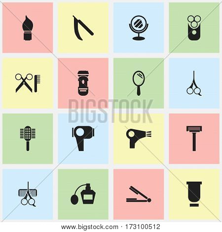 Set Of 16 Editable Hairdresser Icons. Includes Symbols Such As Desiccator, Cutter Apparatus, Charger And More. Can Be Used For Web, Mobile, UI And Infographic Design.