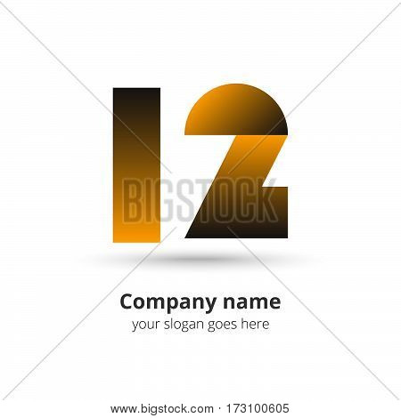 12 logo vector gold year concept. Anniversary number one two,1 and 2. Monogram numbers twelve celebrating. Logotype with yellow gradient color.