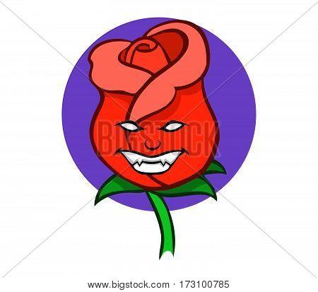 A Vector illustration of evil rose .