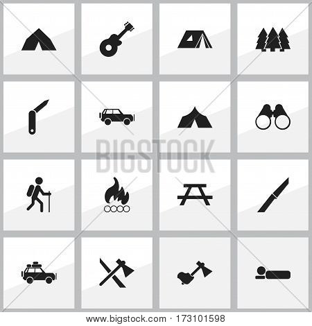 Set Of 16 Editable Trip Icons. Includes Symbols Such As Pine, Desk, Knife And More. Can Be Used For Web, Mobile, UI And Infographic Design.