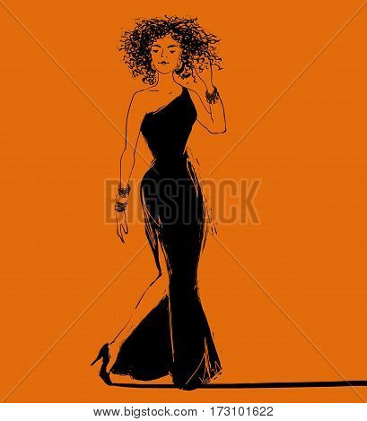 Vector beautiful jazz style african woman singer in a long dress illustration.
