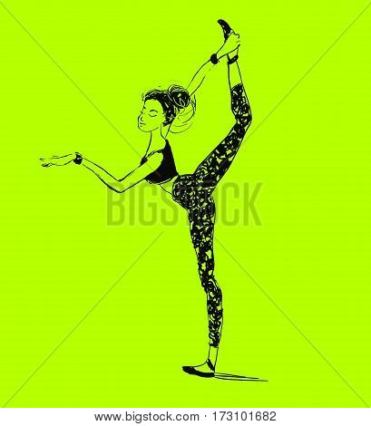 Vector young woman stretching. Ballet workout class. Healthy lifestyle.