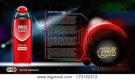 Men Space gel or Lotion cosmetic ads template. Refreshing skin toner. Cosmic background. Mockup 3D Realistic illustration