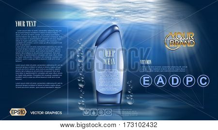 Deep ocean Shower gel or Aqua Moisturizing Lotion cosmetic ads template. Refreshing skin toner. Mockup 3D Realistic. Splash water drops over blue background