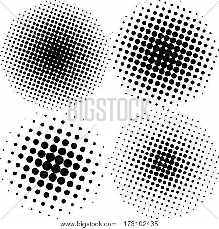 Set of the blackAbstract Halftone Backgrounds. Vector illustration