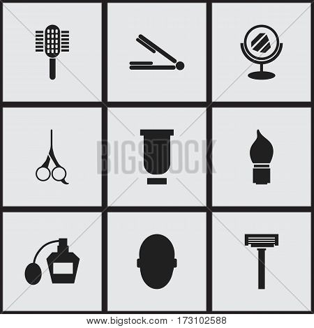 Set Of 9 Editable Barbershop Icons. Includes Symbols Such As Scrub, Cut Tool, Take The Hair Dryer And More. Can Be Used For Web, Mobile, UI And Infographic Design.