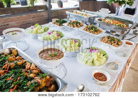 Many kind of Thai food in party