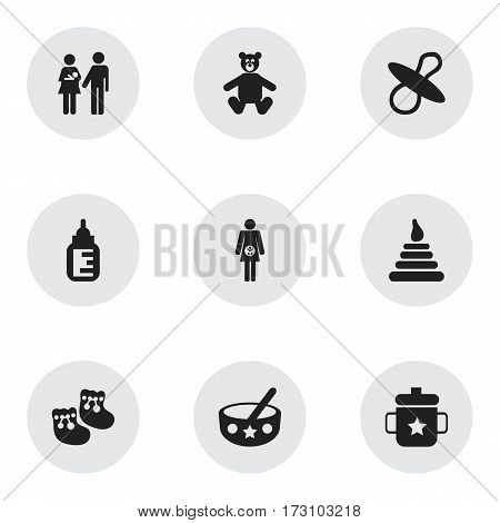 Set Of 9 Editable Infant Icons. Includes Symbols Such As Tower, Soothers, Lineage And More. Can Be Used For Web, Mobile, UI And Infographic Design.