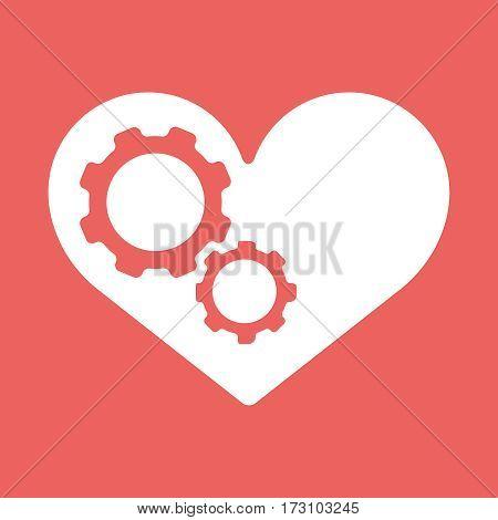 Settings heart. Settings icon inside heart background vector illustration EPS10