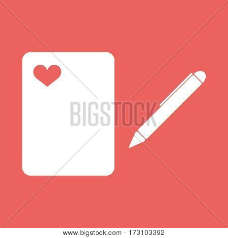 A ball point pen drawing or writing a love letter heart red white copyspace. Illustration, EPS10