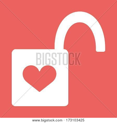 Heart Padlock open in. Icon Flat Design Vector Illustration with Love Symbol. Lock with heart shape eps10