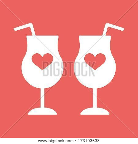 Champagne glass hearts with red concept beverage, contour, fun event decoration, bubbly, meeting white eps10 illustration