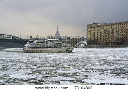 Moscow, Russia - January 16, 2017: The passenger pleasure boat-restaurant Beauty in Moscow
