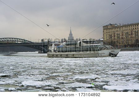 Moscow, Russia - January 16, 2017: The passenger pleasure boat-restaurant Beauty in Moscow winter cloudy day