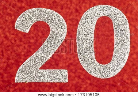 Number twenty silver over a red background. Anniversary. Horizontal