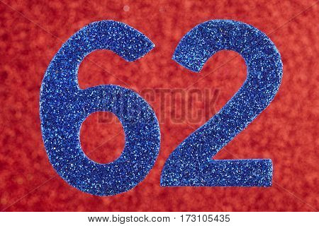 Number sixty-two blue color over a red background. Anniversary. Horizontal