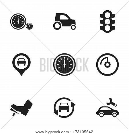 Set Of 9 Editable Car Icons. Includes Symbols Such As Treadle, Pointer, Speed Control And More. Can Be Used For Web, Mobile, UI And Infographic Design.