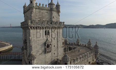 Aerial View of Torre de Belem, Lisbon , Portugal