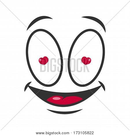 Smile cartoon emoticon in love with hearts in eyes. Vector emoji face cartoon comic icon