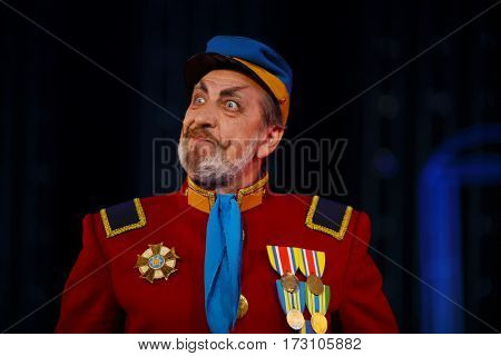 MOSCOW - OCT 19, 2016: Actor during Premium class Performance in Modern theater