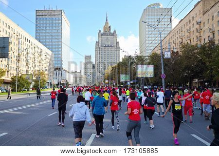 MOSCOW - SEP 25, 2016: During Promsvyazbank Moscow marathon amateurs and professionals, athletes from Russia and other countries again ran 42.2 km on central streets and quays of Moscow