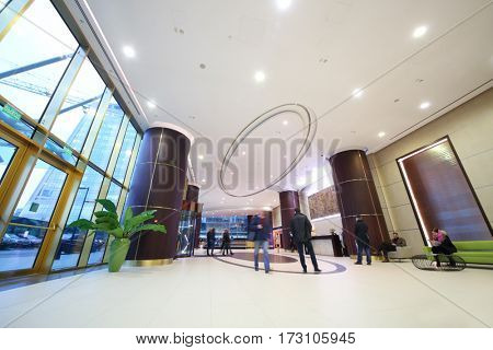 MOSCOW - OCT 20, 2016: Modern hall in Empire tower in Moscow city business center, Empire Business Complex - 60-story skyscraper built in 2006