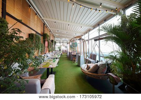 MOSCOW - OCT 20, 2016: Restaurant terrace on top of Eye tower in Moscow City business complex, Restaurant 354 occupies three floors in Oko tower in Moscow-City