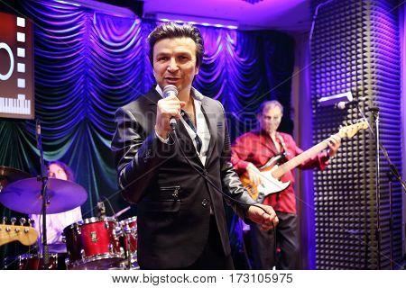 MOSCOW - OCT 19, 2016: Singer Alex Zardinov performs in Jazz club Cinema in Olympiс
