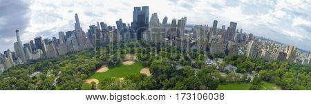 NEW-YORK - AUG 21, 2014: Heckscher Ballfields and Victorian Gardens in Central Park at summer day. Aerial panorama