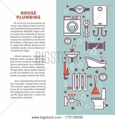 House plumbing infographics poster template. Vector poster of bathroom and kitchen household icons and plumber fixture tools