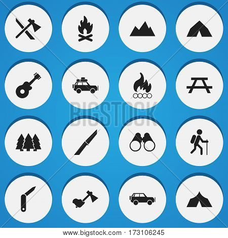 Set Of 16 Editable Travel Icons. Includes Symbols Such As Peak, Tomahawk, Refuge And More. Can Be Used For Web, Mobile, UI And Infographic Design.