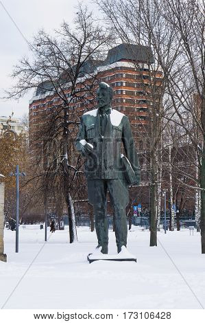 Moscow, Russia - January 17, 2017: Monument to revolutionary Yakov Sverdlov in Moscow
