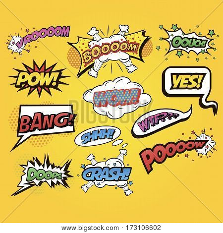 Speech bubbles Comics speech and exclamations. Speech bubbles with dialog words for different emotions and sound effects boom, yes, bang, wow. Pop art style. Vector illustration isolated on white