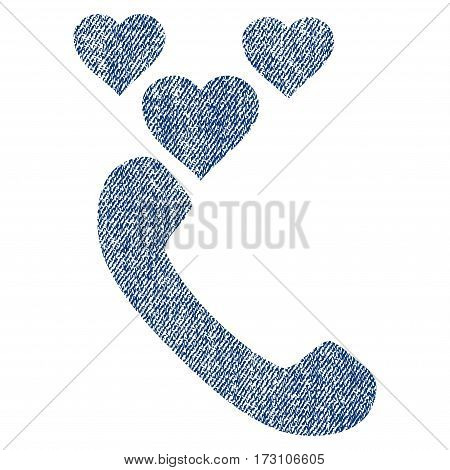 Love Phone Call vector textured icon for overlay watermark stamps. Blue jeans fabric vectorized texture. Symbol with dirty design. Blue ink rubber seal stamp with fiber textile structure.