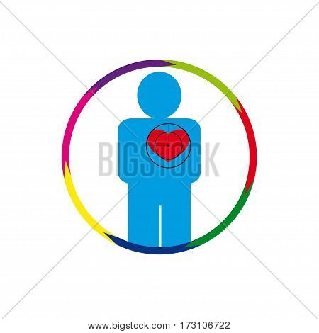 Vector illustration. The emblem logo. The human heart at risk. healthy lifestyle. human contour. Seven sections of a circle. Different colors.