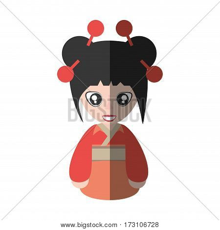 portrait woman asian clothes shadow vector illustration eps 10