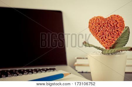 Red Heart flower pot for Romance in Office concept