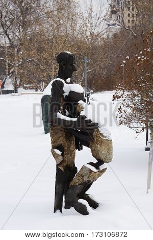 Moscow, Russia - January 17, 2017: Sculpture Return of the Prodigal Son. Author Oleg Garkushenko in arts Muzeon park in Moscow