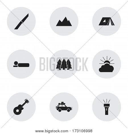 Set Of 9 Editable Trip Icons. Includes Symbols Such As Shelter, Bedroll, Pine And More. Can Be Used For Web, Mobile, UI And Infographic Design.