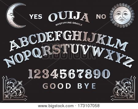 Hand Drawn Art Ouija Board Mystifying Oracle. Antique Style Boho Chic Print Design Vector Illustrati