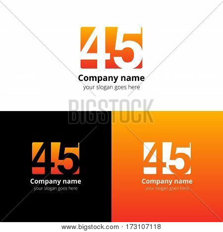 45 logo icon flat and vector design template. Monogram years numbers four and five. Logotype forty-five with orange-yellow gradient color. Creative vision concept logo, elements, sign, symbol for card