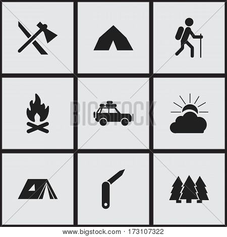 Set Of 9 Editable Travel Icons. Includes Symbols Such As Gait, Tepee, Clasp-Knife And More. Can Be Used For Web, Mobile, UI And Infographic Design.