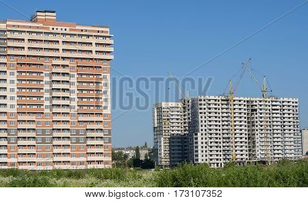 Construction of residential buildings of different architectural styles