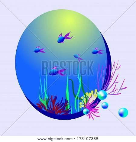 Underwater world with seaweeds and fish. Blue pearls