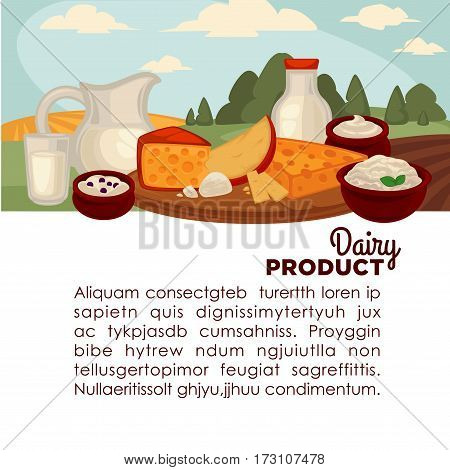 Set of healthy dairy products milk, cottage cheese, butter, yogurt, sour cream, eggs. Jug, bottle, glass and packaging of milk Vector illustration
