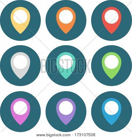 Set Of 9 Geo Colored Map Pin Circled. Vector Illustration.